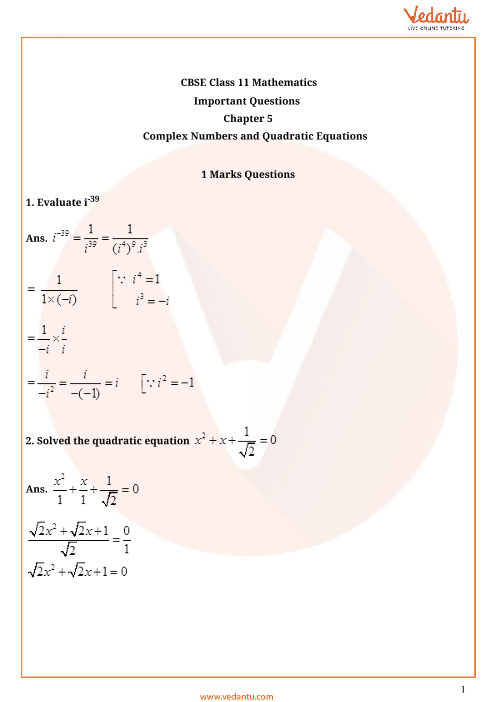 Important Questions Class 11 Maths Chapter 5 part-1