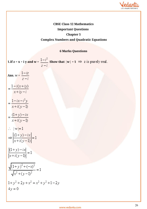 Important Questions for CBSE Class 11 Maths Chapter 5