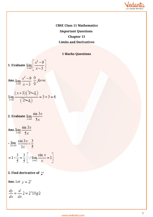 Important Questions for CBSE Class 11 Maths Chapter 13