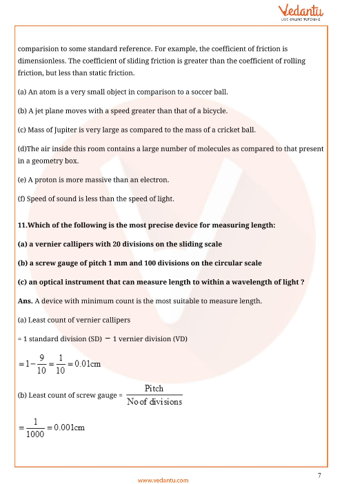 Important Questions for CBSE Class 11 Physics Chapter 2