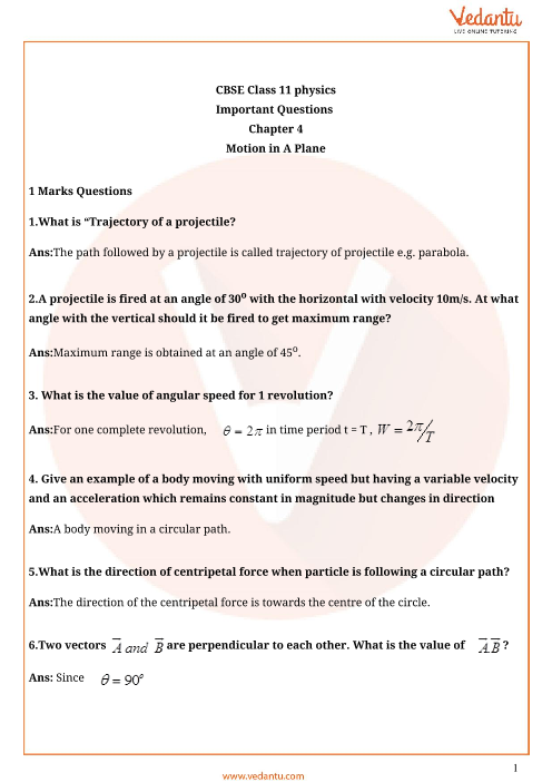 Important Questions for CBSE Class 11 Physics Chapter 4