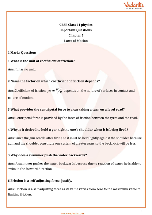 Important Questions for CBSE Class 11 Physics Chapter 5
