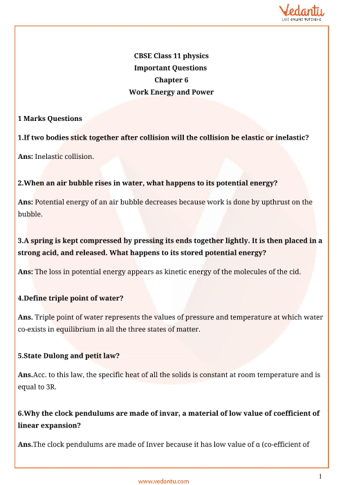 Important Questions for CBSE Class 11 Physics Chapter 6 - Work