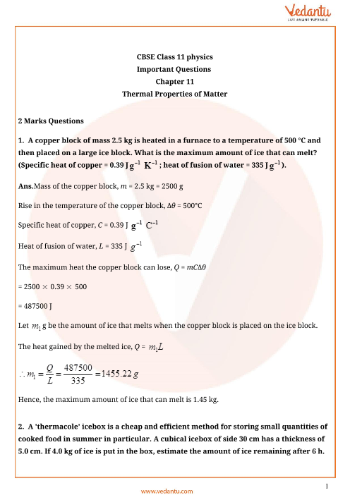 Important Questions for CBSE Class 11 Physics Chapter 11