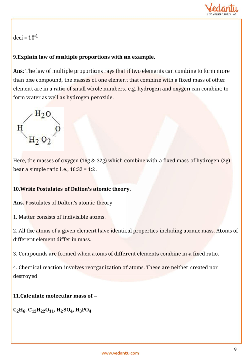 Important Questions for CBSE Class 11 Chemistry Chapter 1 - Some