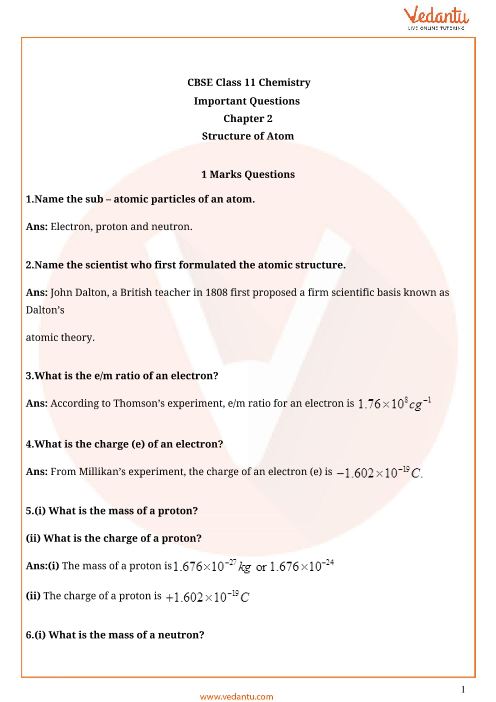 Important Questions for CBSE Class 11 Chemistry Chapter 2 ...
