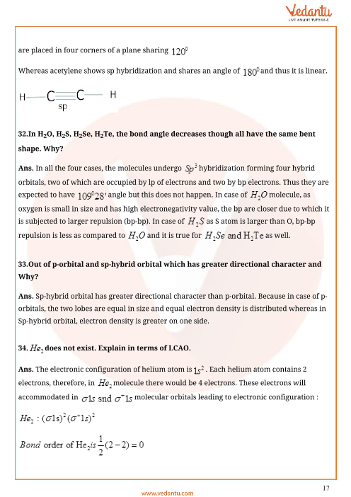 Important Questions for CBSE Class 11 Chemistry Chapter 4 - Chemical