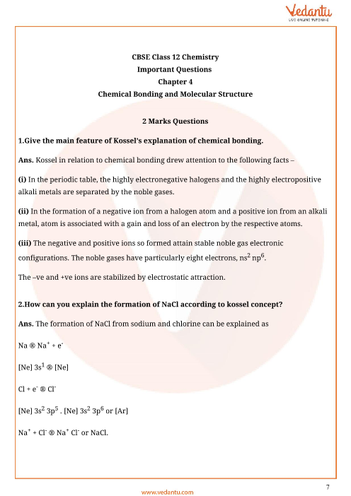 Important Questions for CBSE Class 11 Chemistry Chapter 4