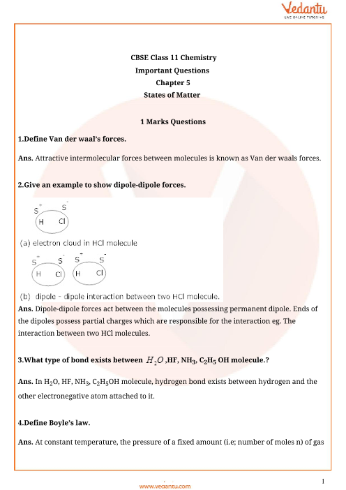 Important Questions for CBSE Class 11 Chemistry Chapter 5