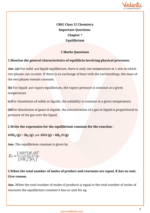 Important Questions for CBSE Class 11 Chemistry Chapter 7