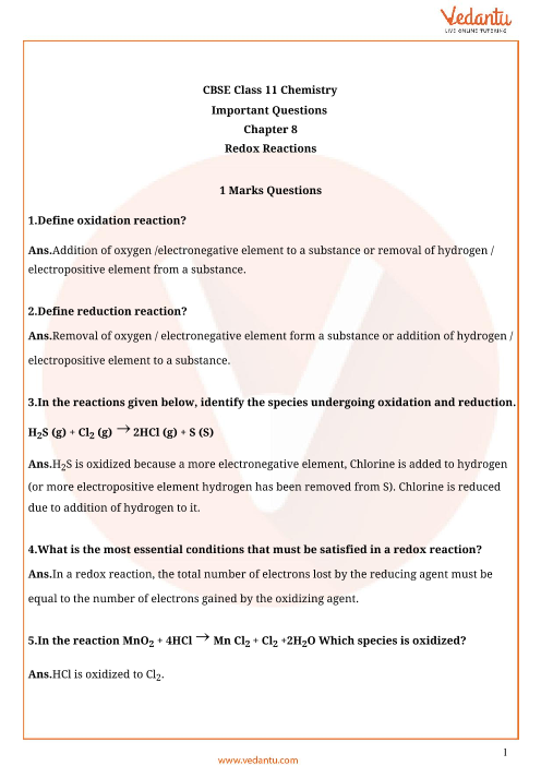 Important Questions for CBSE Class 11 Chemistry Chapter 8