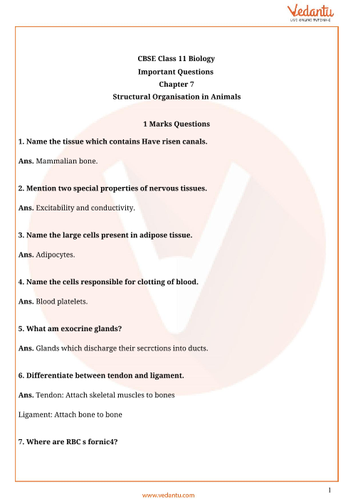Important Questions for CBSE Class 11 Biology Chapter 7