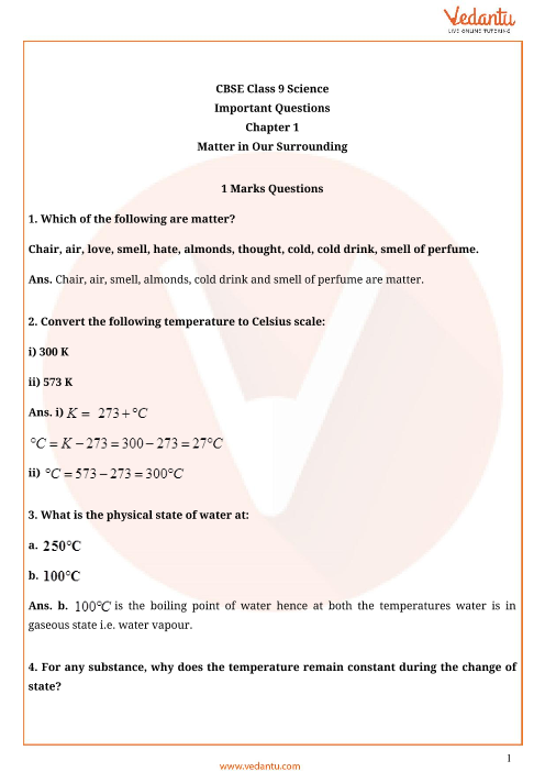 Important Questions for CBSE Class 9 Science Chapter 1
