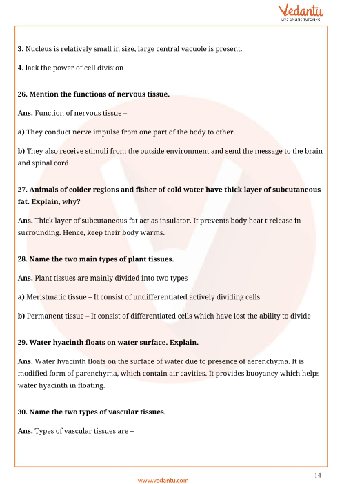 Important Questions for CBSE Class 9 Science Chapter 6 - Tissues