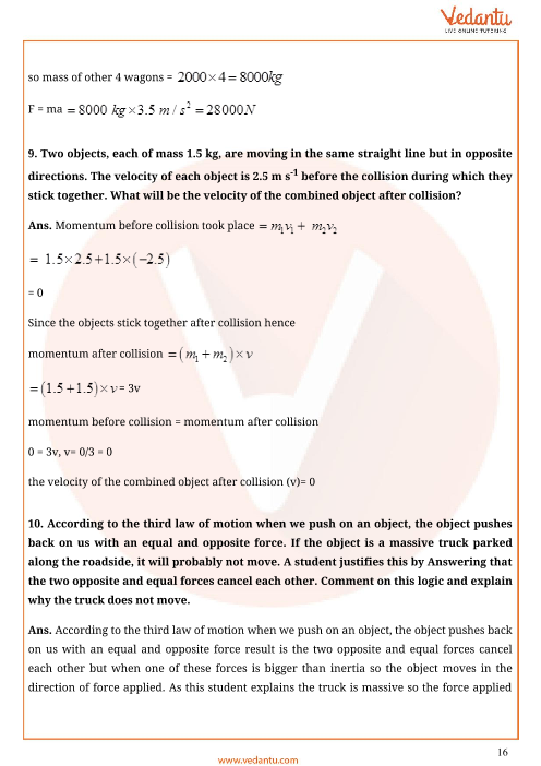 Important Questions for CBSE Class 9 Science Chapter 9