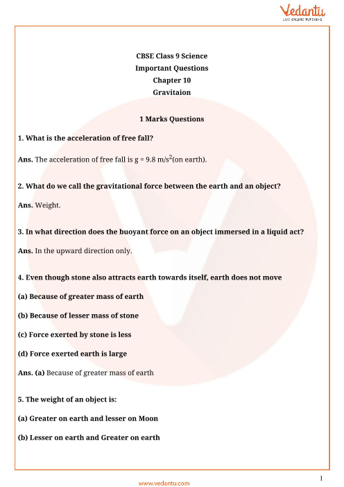 Important Questions for CBSE Class 9 Science Chapter 10