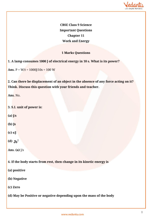 Important Questions for CBSE Class 9 Science Chapter 11