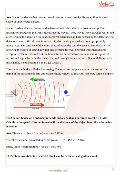 Important Questions for CBSE Class 9 Science Chapter 12 - Sound