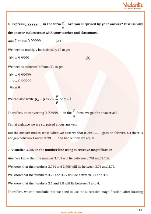 Important Questions for CBSE Class 9 Maths Chapter 1 - Number Systems