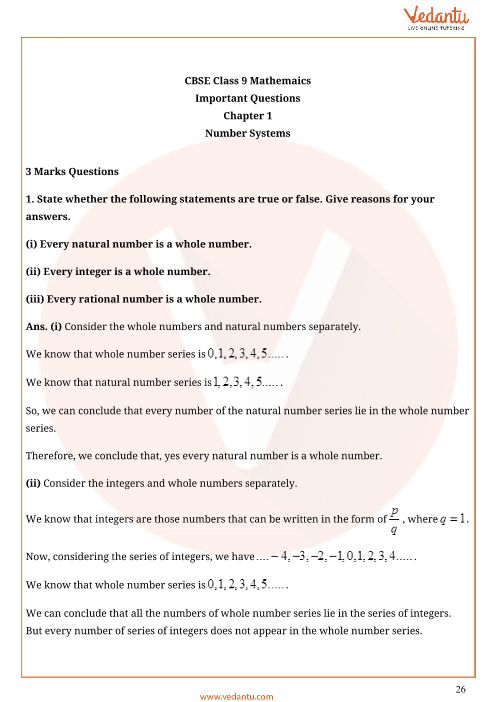 Important Questions for CBSE Class 9 Maths Chapter 1