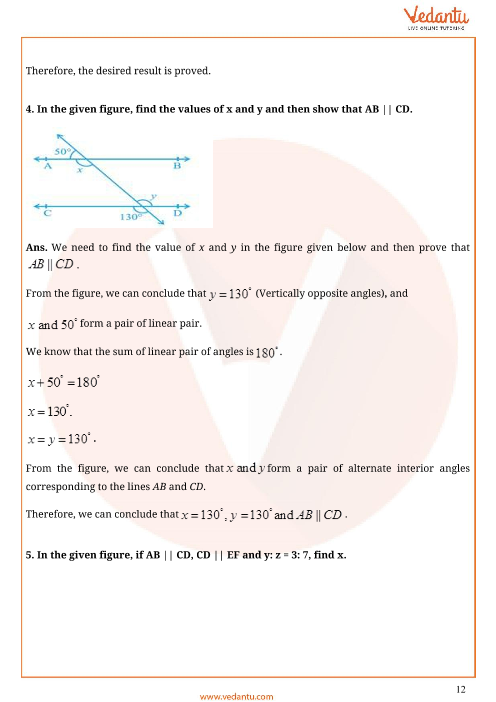 Important Questions for CBSE Class 9 Maths Chapter 6 - Lines