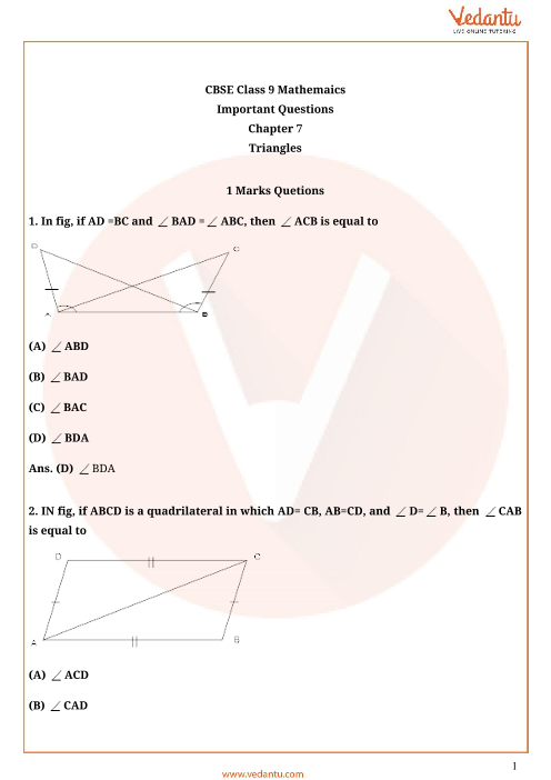 Important Questions Class 9 Maths Chapter 7 part-1