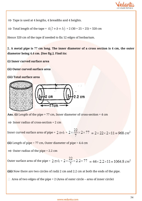 Important Questions for CBSE Class 9 Maths Chapter 13 - Surface
