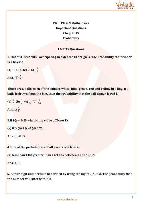 Important Questions Class 9 Maths Chapter 15 part-1