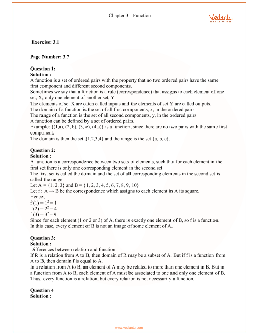 RD Sharma Class 11 Maths Solutions Chapter 3 - Functions