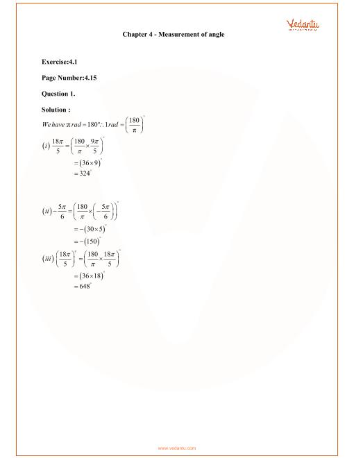 RD Sharma Class 11 Maths Solutions Chapter 4 - Measurement