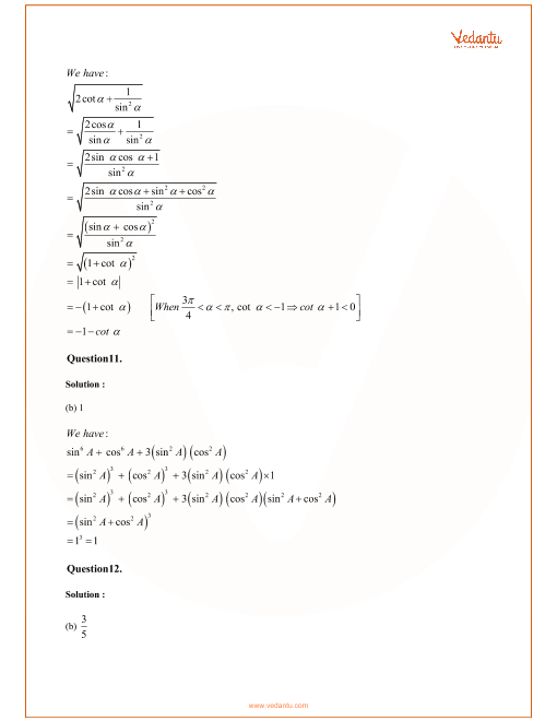 RD Sharma Class 11 Maths Solutions Chapter 5 - Trigonometric Functions