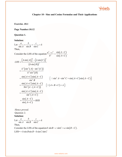 RD Sharma Class 11 Maths Solutions Chapter 10 - Sine and