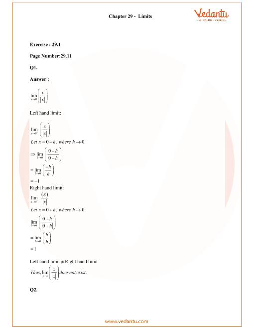 RD Sharma Class 11 Maths Solutions Chapter 29 - Limits