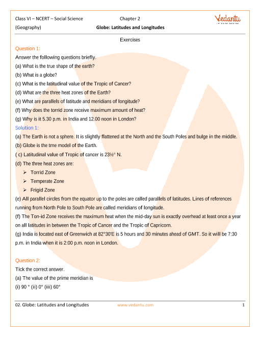 NCERT Solutions for Class 6 Social Science - The Earth Our Habitat