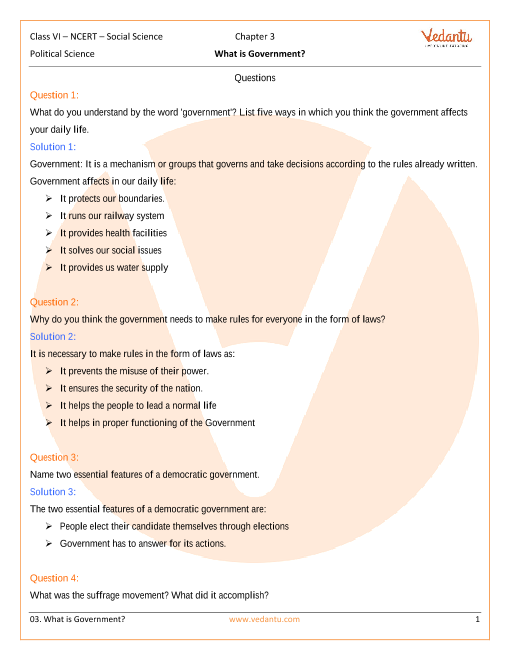 NCERT Solutions for Class 6 Social Science - Social and Political