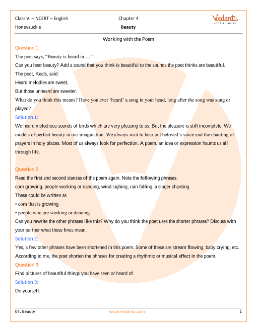 NCERT Solutions for Class 6 English Honeysuckle Poem - Beauty