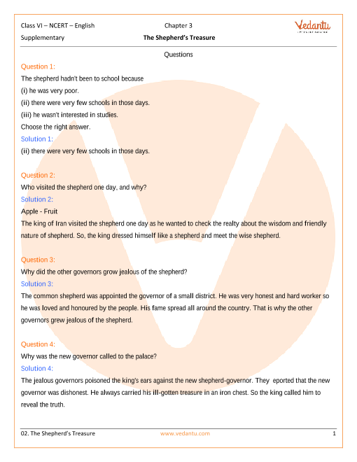 NCERT Solutions for Class 6 English A pact with the Sun Chapter 3