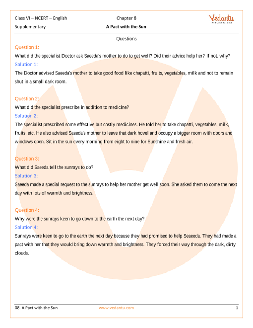 NCERT Solutions for Class 6 English A pact with the Sun Chapter 8