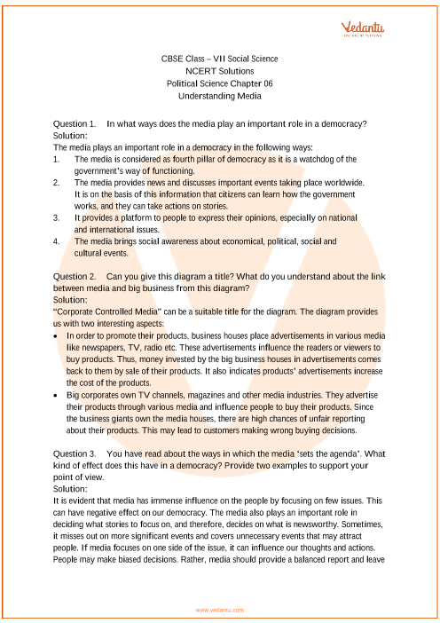 NCERT Solutions for Class 7 Social Science Political life Chap-6 part-1