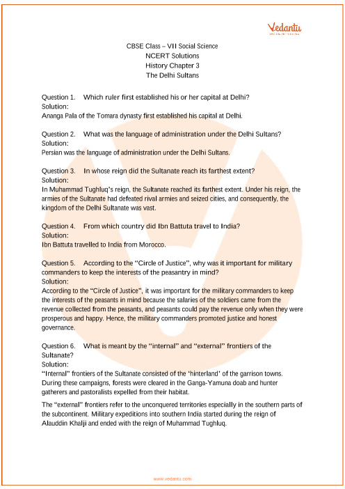 NCERT Solutions for Class 7 Social Science Our Pasts-2 Chapter-3