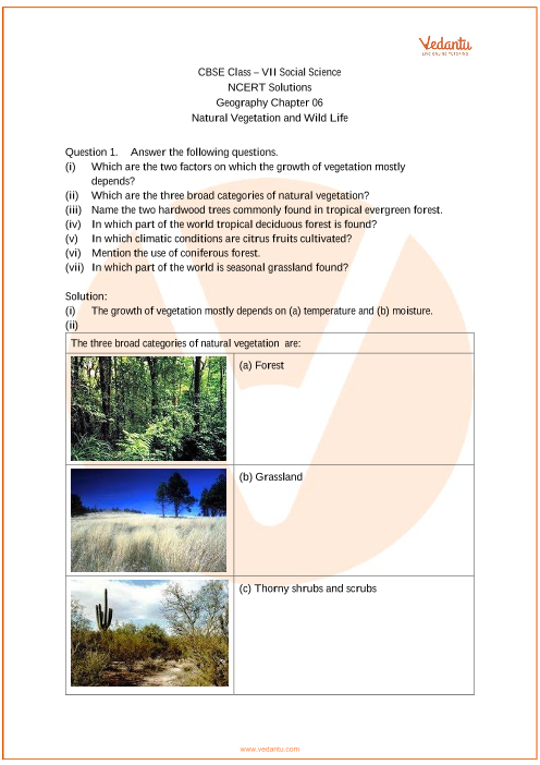 NCERT Solutions for Class 7 Social Science Geography Chap-6 part-1