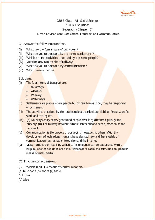 NCERT Solutions for Class 7 Social Science Our Environment ...