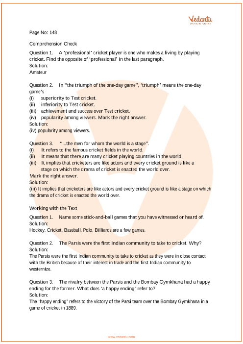 NCERT Solutions for Class 7 English Honeycomb Chapter 10