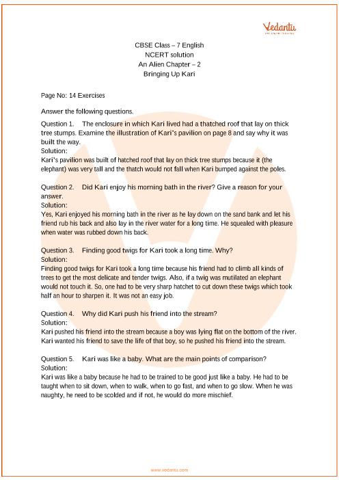 NCERT Solutions for Class 7 English An Alien Hand Chapter 2