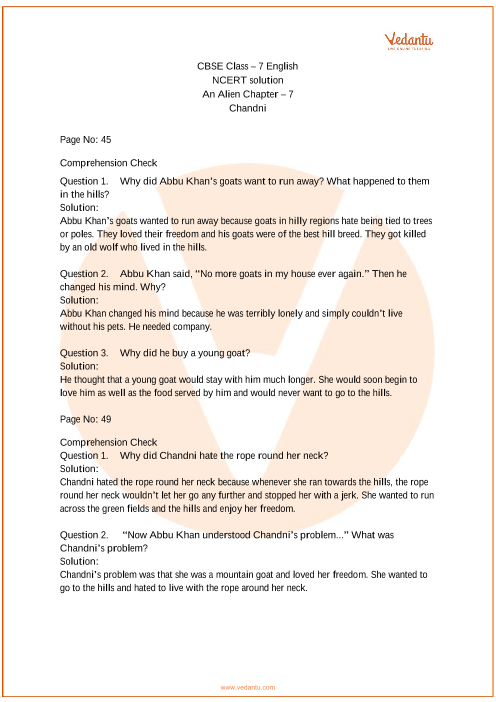 NCERT Solutions for Class 7 English An Alien Hand Chapter 7 - Chandni
