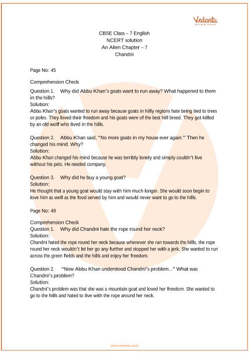 NCERT Solutions for Class 7 English An Alien Hand Chapter 7