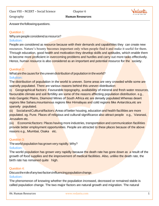 NCERT Solutions for Class 8 Social Science Geography Chap-6 part-1
