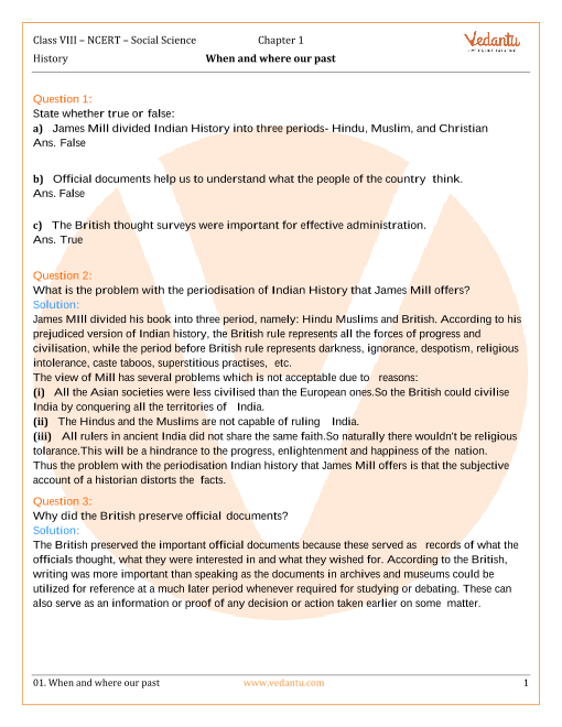 NCERT Solutions for Class 8 Social Science History Chap-1 part-1