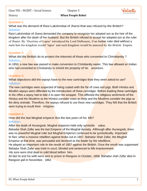 NCERT Solutions for Class 8 Social Science History Chap-5 part-1