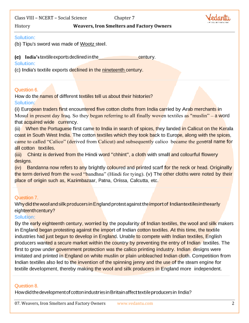 NCERT Solutions for Class 8 Social Science History Our Pasts